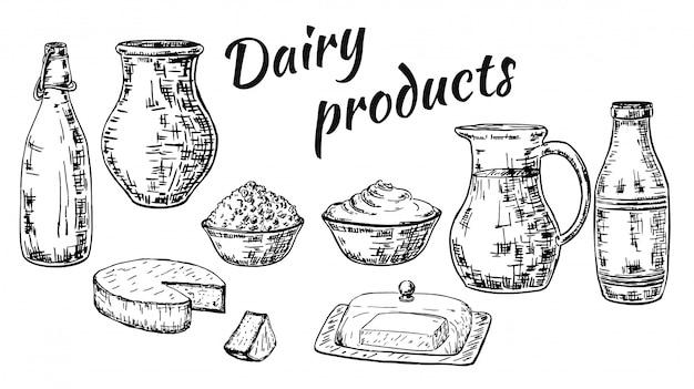 Conjunto de productos lácteos estilo boceto dibujado a mano tinta
