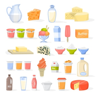 Conjunto de productos lácteos. queso, yogur, mantequilla