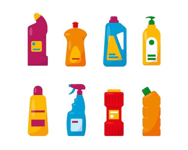 Conjunto de productos de limpieza tareas domésticas sanitarias y limpieza