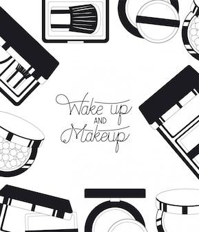 Conjunto de productos de maquillaje alrededor.