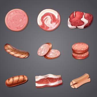 Un conjunto de productos mixtos de carne