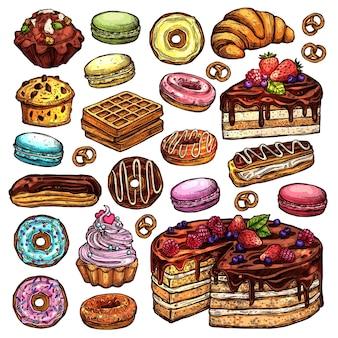 Conjunto de productos de panadería y dulces