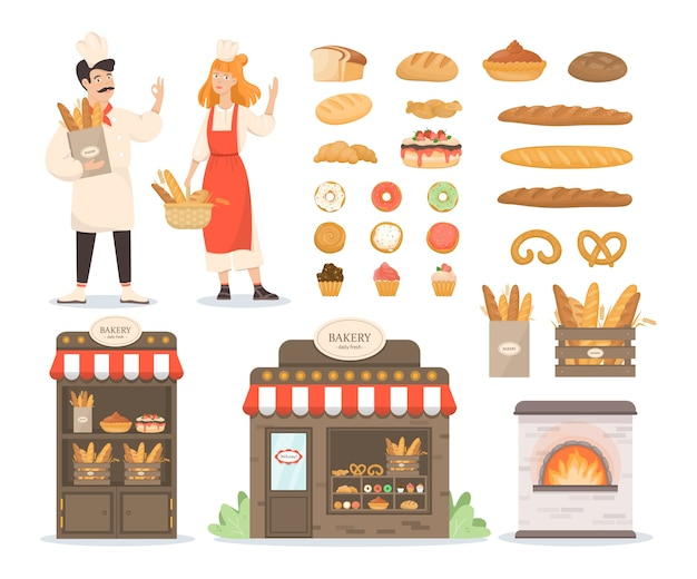Conjunto de productos de panadería frescos. pan y galletas