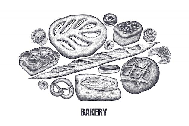 Conjunto de productos de panadería. variaciones del pan.