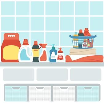 Un conjunto de productos químicos domésticos en el interior del baño. sistema de almacenamiento en la ducha.