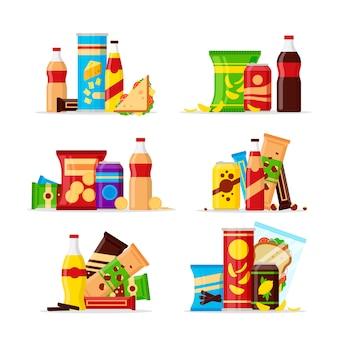 Conjunto de productos de refrigerio, bocadillos de comida rápida, bebidas, nueces, papas fritas, galleta, jugo, sándwich aislado sobre fondo blanco. ilustración plana en