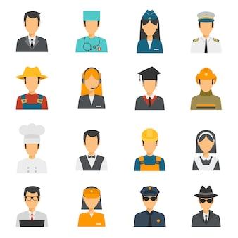 Conjunto de profesión plana avatar