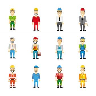 Conjunto profesional obrero. iconos vectoriales