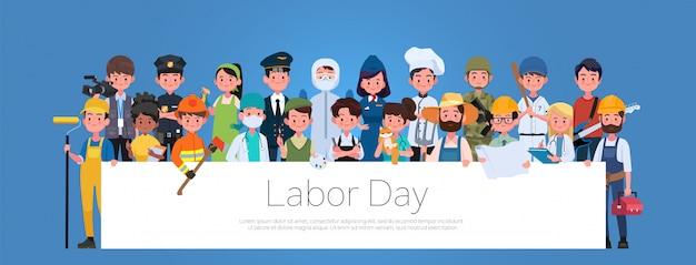 Conjunto de profesiones de diferentes ocupaciones del grupo de personas, banner plano del día internacional del trabajo