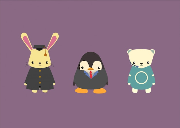 Conjunto de profesiones de mascota animal adorable paquete, conejo, oso polar, pingüino