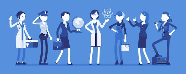 Conjunto de profesiones de mujeres. colección femenina de póster de ocupación, capacitación y calificación, elección para hacer después de la escuela o la universidad. ilustración de dibujos animados de estilo sobre fondo blanco