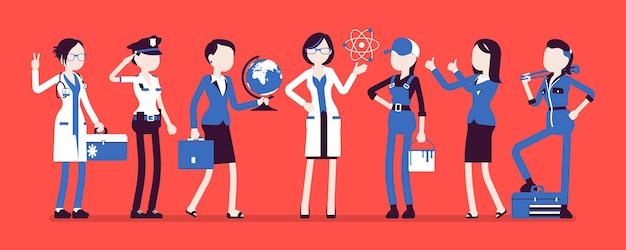Conjunto de profesiones de mujeres