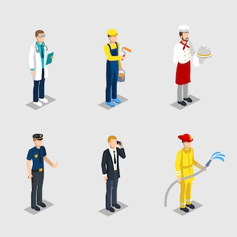 Conjunto de profesiones de personajes masculinos isométricos