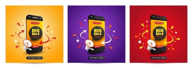 Conjunto de promoción de compras en línea de banner de gran venta en publicación de redes sociales