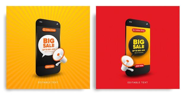 Conjunto de promoción de compras en línea de gran venta con texto editable