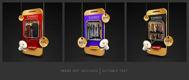 Conjunto de promoción de compras en línea de moda en aplicaciones móviles con texto editable
