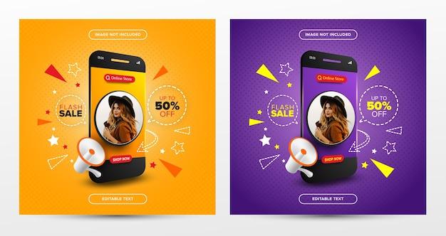 Conjunto de promoción de compras en línea de venta flash en publicación de redes sociales