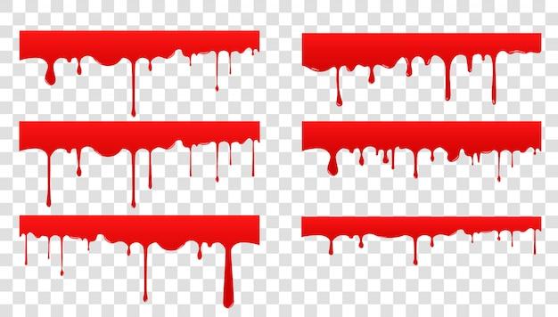 Conjunto de propagación de sangre. gota de líquido rojo y salpicaduras. la pintura gotea y fluye