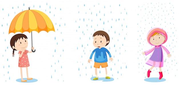 Un conjunto de protección contra la lluvia