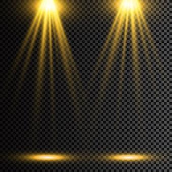 Conjunto de proyectores brillantes realistas para la iluminación de la escena aislado sobre fondo a cuadros. colección especial de efectos de luz.