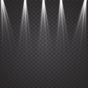 Conjunto de proyectores realistas brillantes para iluminación de escena aislado