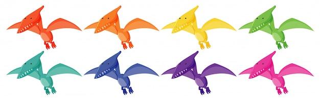 Conjunto de pteranodones en diferentes colores.