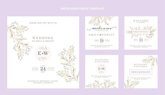 Conjunto de publicaciones de boda ig dibujadas a mano