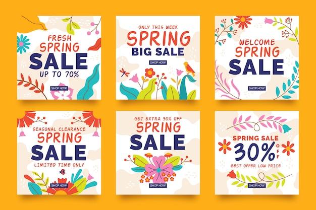 Conjunto de publicaciones coloridas de instagram de rebajas de primavera