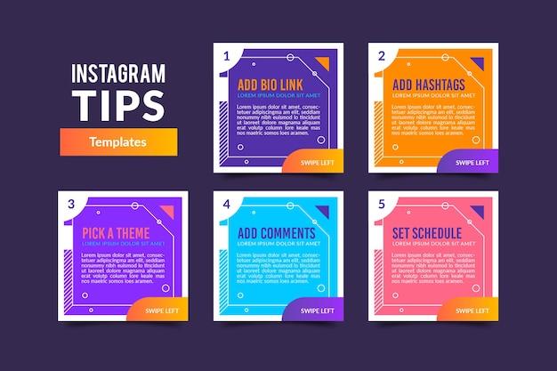 Conjunto de publicaciones de consejos de instagram