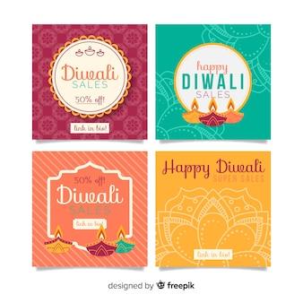 Conjunto de publicaciones de diwali instagram