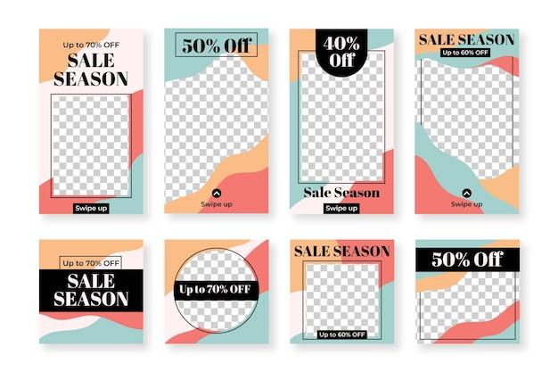 Conjunto de publicaciones e historias de instagram para ventas.