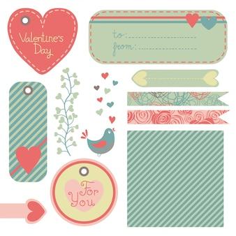 Conjunto de publicaciones, etiquetas y etiquetas de san valentín