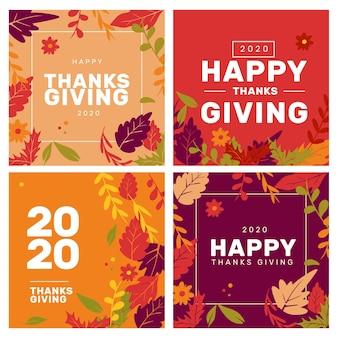 Conjunto de publicaciones de instagram de acción de gracias