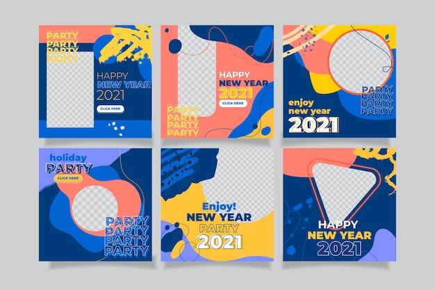 Conjunto de publicaciones de instagram de año nuevo 2021