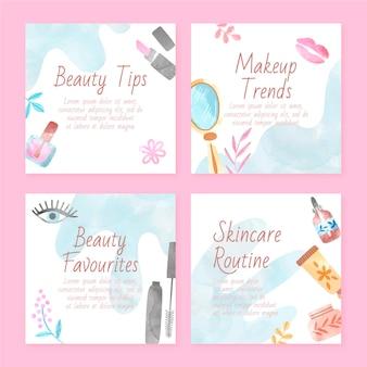 Conjunto de publicaciones de instagram de belleza de acuarela pintadas a mano