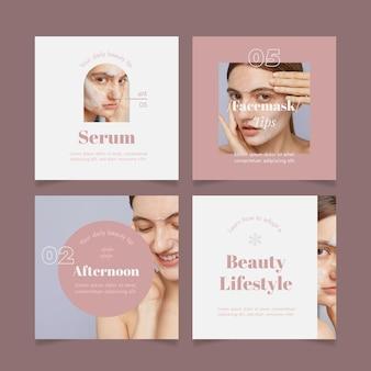 Conjunto de publicaciones de instagram de belleza de diseño plano