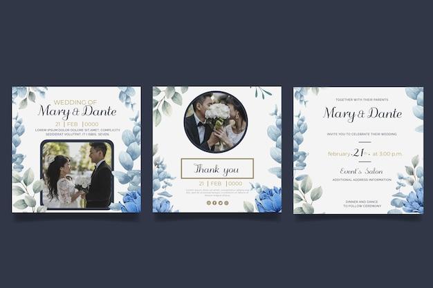 Conjunto de publicaciones de instagram de boda floral