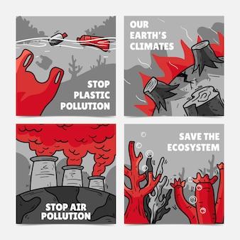 Conjunto de publicaciones de instagram de cambio climático dibujadas a mano