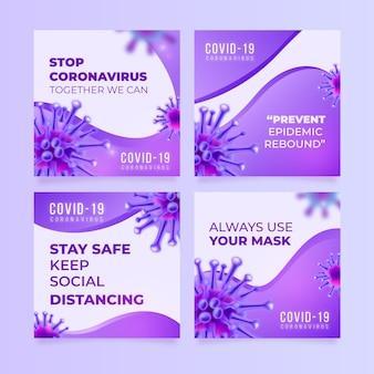 Conjunto de publicaciones de instagram de coronavirus degradado