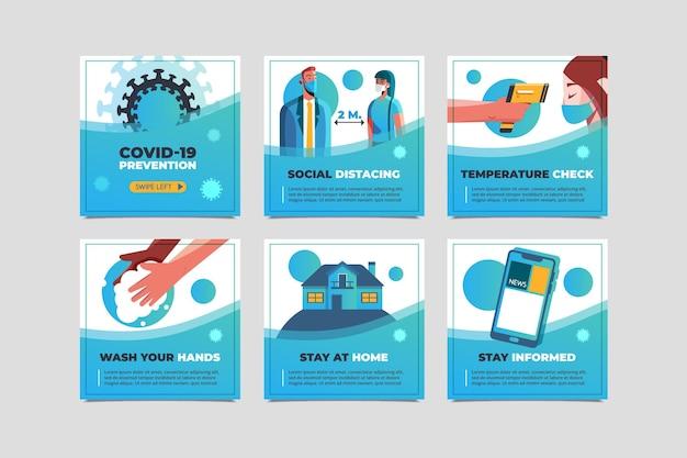 Conjunto de publicaciones de instagram de coronavirus plano