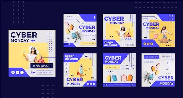 Conjunto de publicaciones de instagram de cyber monday