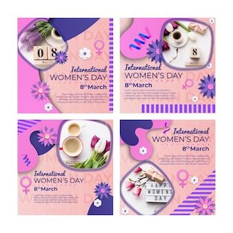 Conjunto de publicaciones de instagram del día internacional de la mujer.