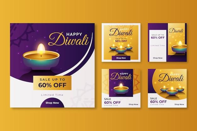 Conjunto de publicaciones de instagram de evento de venta de diwali