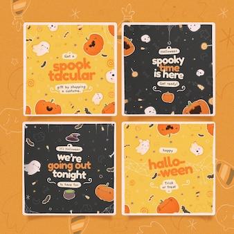 Conjunto de publicaciones de instagram del festival de halloween