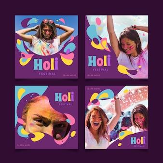 Conjunto de publicaciones de instagram del festival holi plano