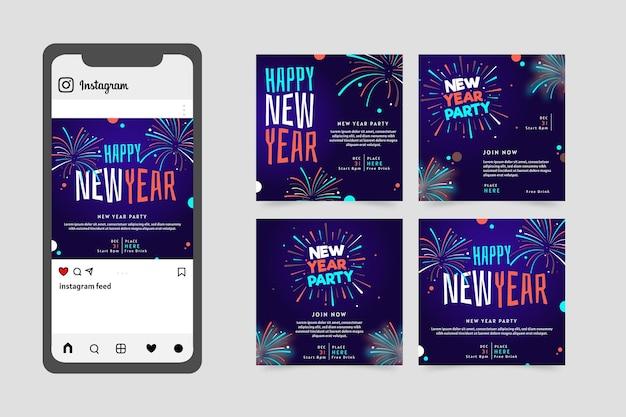 Conjunto de publicaciones de instagram de fiesta de año nuevo 2021