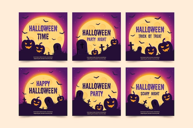 Conjunto de publicaciones de instagram de halloween