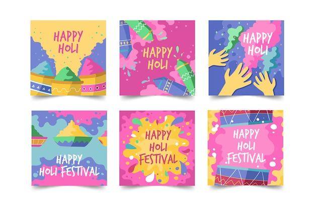 Conjunto de publicaciones de instagram de holi festival de redes sociales