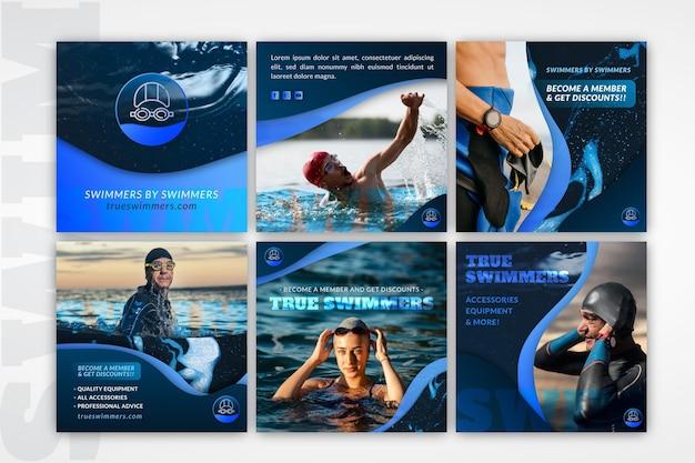 Conjunto de publicaciones de instagram de natación