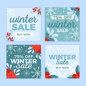 Conjunto de publicaciones de instagram de rebajas de invierno